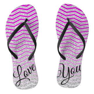 Silver Purple Stripe Love You Flip Flop
