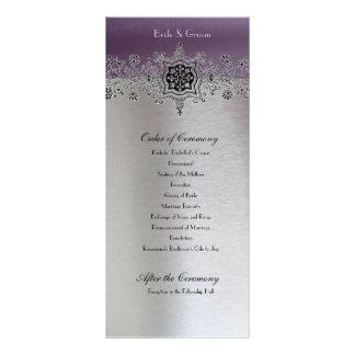 Silver Purple Wedding Program Customised Rack Card