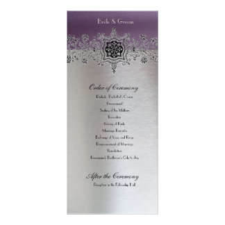 Silver Purple Wedding Program Rack Card Design