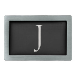 "Silver Raised ""J"" Initial Belt Buckle"
