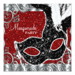 Silver Red and Black Mask Masquerade Party Personalised Invites