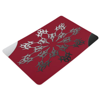 Silver Red Black Brick Ethnic Abstract Floor Mat