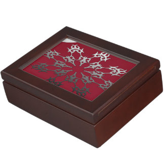 Silver Red Black Brick Ethnic Abstract Keepsake Box