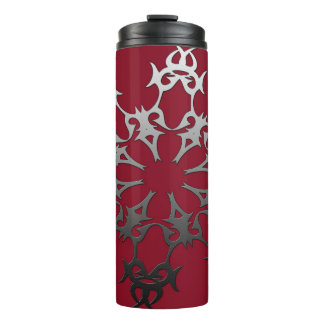 Silver Red Black Brick Ethnic Abstract Thermal Tumbler