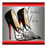 Silver Red Black High Heels Birthday Party Personalized Announcement