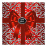 Silver Red Damask Corporate Christmas Party 13 Cm X 13 Cm Square Invitation Card