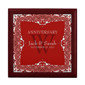 Silver+Red Lace Wedding Anniversary Gift Box
