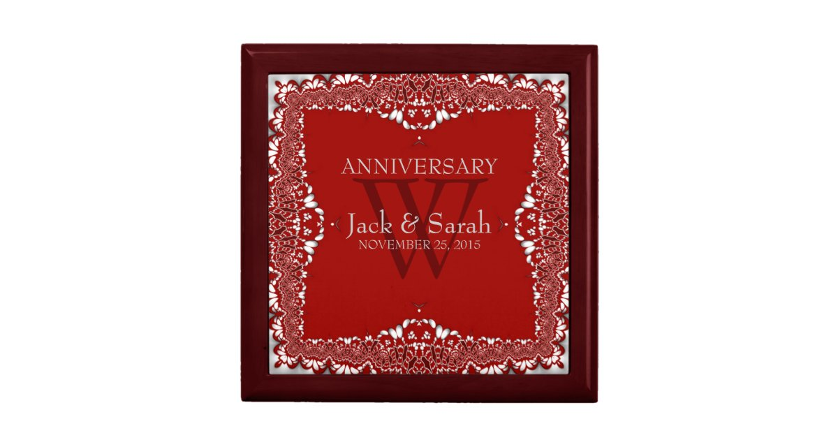 Silver Wedding Anniversary Gifts For Him: Silver+Red Lace Wedding Anniversary Gift Box