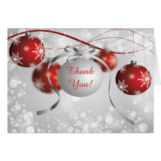Silver & Red Ornaments Bokeh Christmas Thank You Card