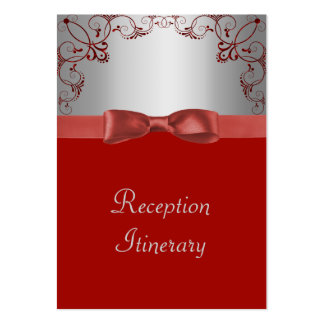 Silver & Red Scrollwork Wedding Business Card Template