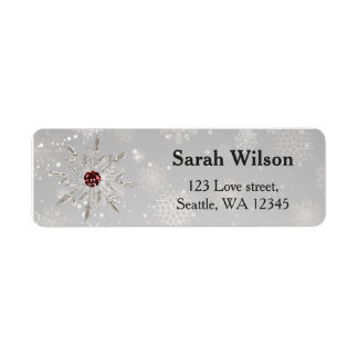 silver red snowflakes bridal shower address label