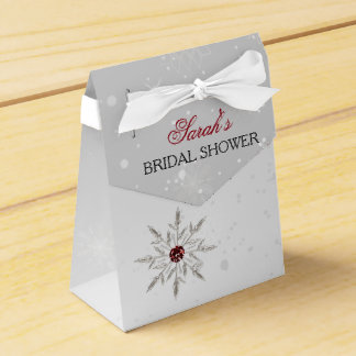 silver red snowflakes bridal shower favor box favour box