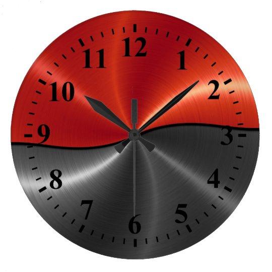 Silver Red Stainless Steel Metal Look Large Clock
