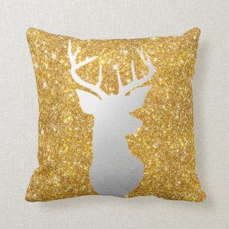 Silver Reindeer Antler Modern Gold Faux Glitter Cushion