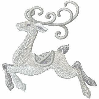 Silver Reindeer Embroidered Hoodie