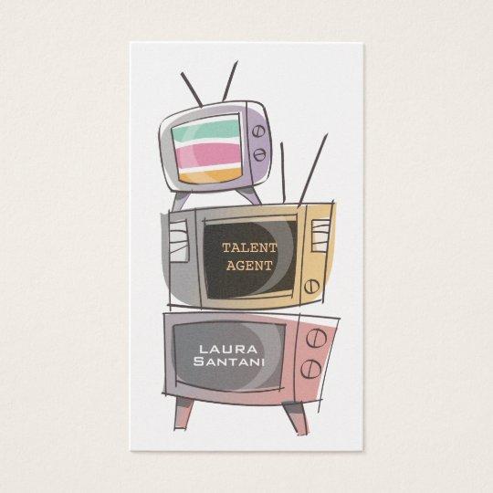 Silver Retro TV's Media Film Actor Business Cards
