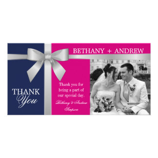 Silver Ribbon Purple Fuchsia Wedding Thank You Card