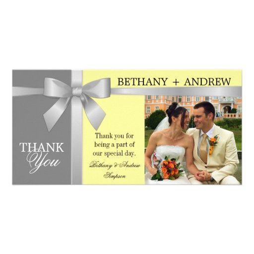 Silver Ribbon Yellow Gray Wedding Thank You Picture Card