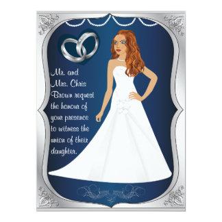 """Silver Ring Bride Heart Dark Blue Wedding Invite 6.5"""" X 8.75"""" Invitation Card"""