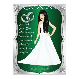 "Silver Rings Bride Heart Green Wedding Invitation 6.5"" X 8.75"" Invitation Card"