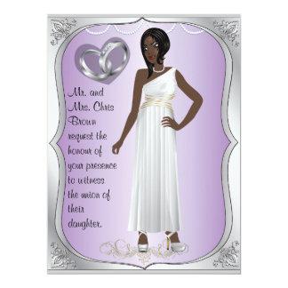 Silver Rings Bride Heart Lavender Wedding Invite