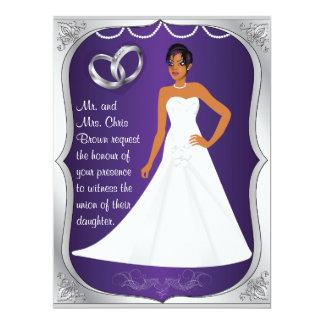 Silver Rings Bride Heart Purple Wedding Invitation
