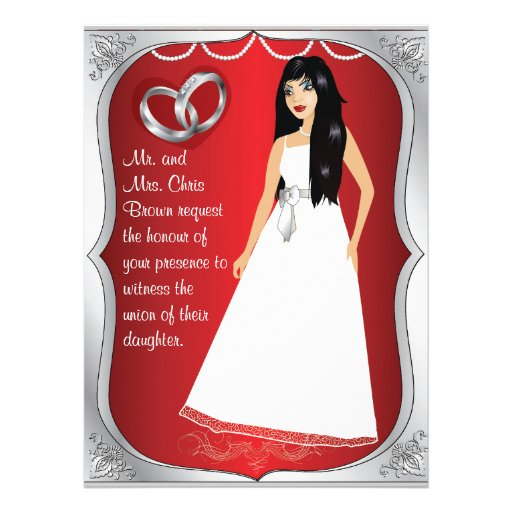 Silver Rings Bride Heart Red Wedding Invitation