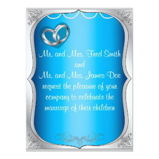 Silver Rings Pearls & Turquoise Wedding Invitation