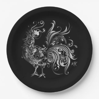 Silver Rooster Choose Your Background Color Paper Plate