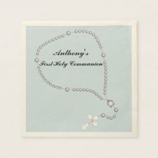 Silver Rosary Beads Communion Personalized Napkin Paper Napkins