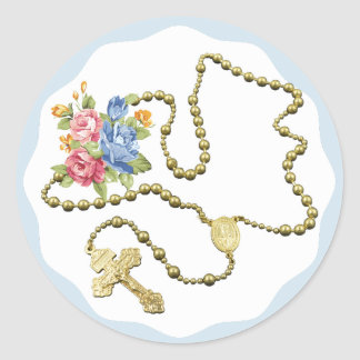 Silver Rosary Beads Roses Flowers Classic Round Sticker