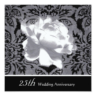 Silver Rose 25th Wedding Anniversary Party Custom Invites
