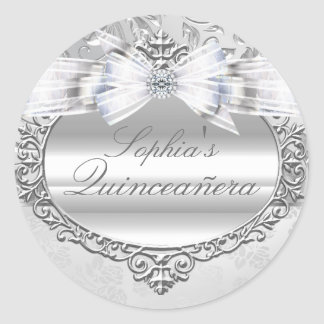 Silver Rose & Bow Quinceanera Sticker