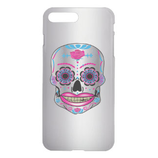 Silver Rose Candy Skull Iphone Case