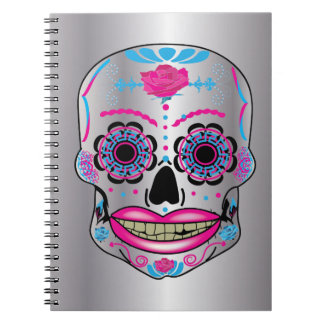 Silver Rose Candy Skull Notebook