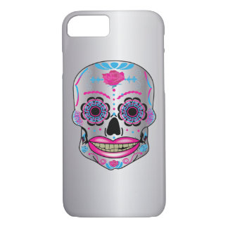 Silver Rose Candy Skull Phone Case