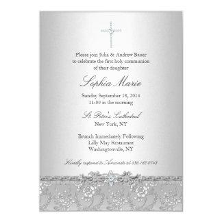 Silver Rose & Cross Baptism/Christening Invitation