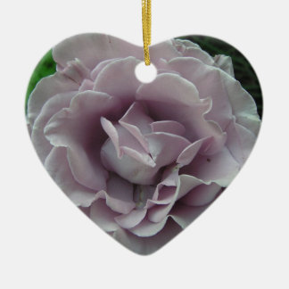 Silver Rose Double-Sided Heart Ceramic Christmas Ornament