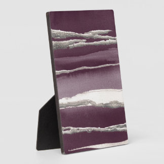 Silver Rose Purple Abstract Print Plaque