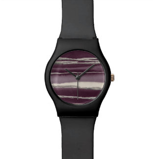 Silver Rose Purple Abstract Print Wristwatches