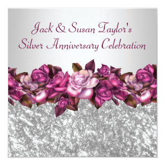 Silver Roses 25th Anniversary Party Card