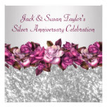 Silver Roses 25th Anniversary Party Personalised Announcement
