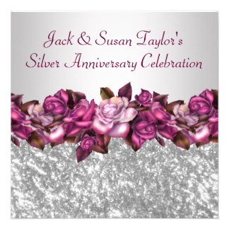 Silver Roses 25th Anniversary Party Invitations