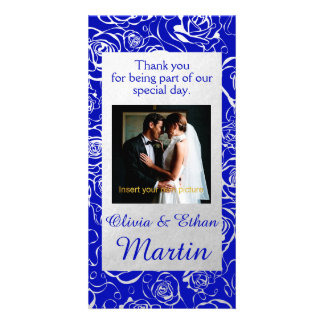 Silver Roses and Royal Blue Wedding Photo Card