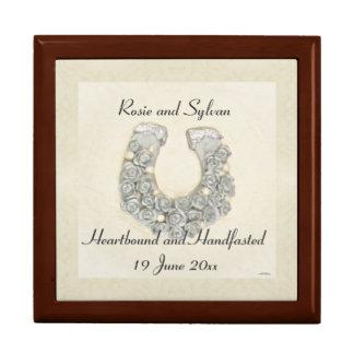 Silver Roses Horseshoe Handfasting Cord Keepsake Gift Box