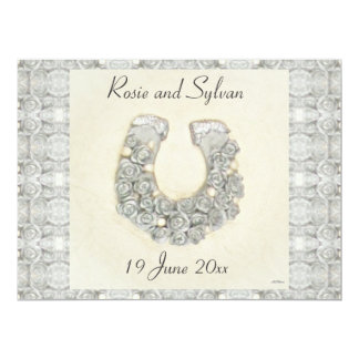 Silver Roses Horseshoe Wedding 17 Cm X 22 Cm Invitation Card