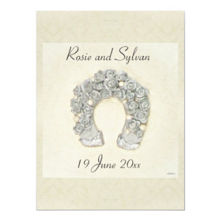 Silver Roses Horseshoe Wedding 17 Cm X 22 Cm Invitation Card