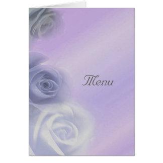 Silver Roses Wedding Menu Card