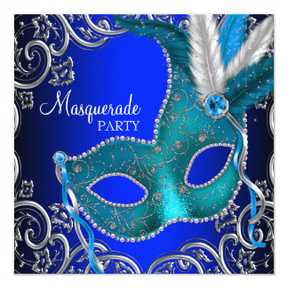 Silver Royal and Teal Blue Masquerade Party 13 Cm X 13 Cm Square Invitation Card