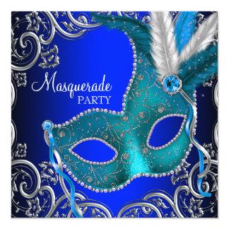 Silver Royal and Teal Blue Masquerade Party Custom Invitations